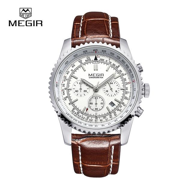 4ff4206b7cf2 Megir Aviator Chronometer (серебристый корпус, белый циферблат, коричневый  ремешок)